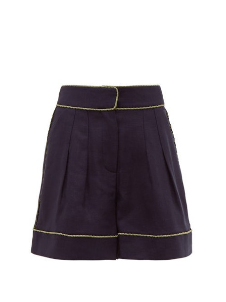 Peter Pilotto - Piped Tweed Shorts - Womens - Navy