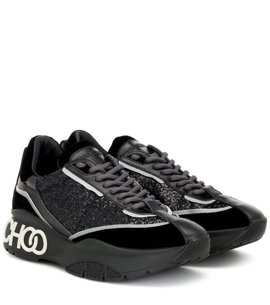 Jimmy Choo Raine glitter sneakers in black