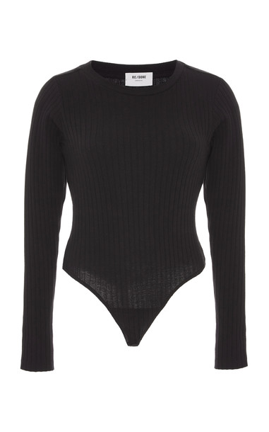 Re/done Ribbed Cotton-Jersey Bodysuit in black