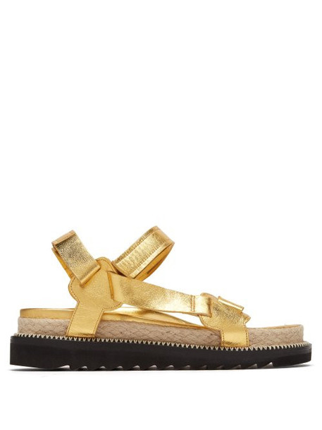 Marques'almeida - Metallic Leather Sandals - Womens - Gold