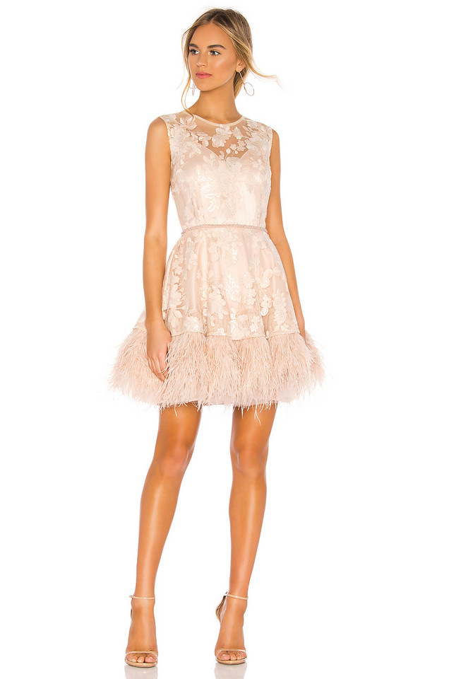 Bronx and Banco Viola Feather Dress in beige