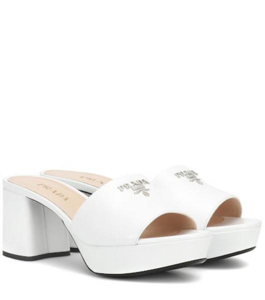 Prada Plateau leather sandals in white