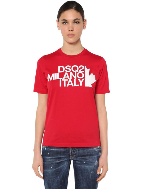 DSQUARED2 Renny Fit Cotton Jersey T Shirt in red