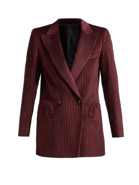 Blazé Milano - Cool Feeling Double Breasted Striped Velvet Blazer - Womens - Burgundy Multi