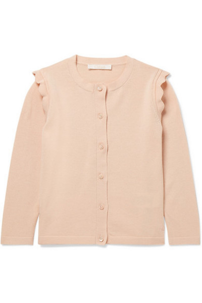 Chloé Kids - Ages 2 - 5 Scalloped Cotton Cardigan in pink
