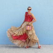dress,red dress,one shoulder,midi dress,asymmetrical,beige skirt,flat sandals,pink bag