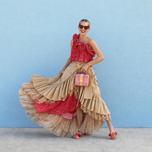 dress red dress one shoulder midi dress asymmetrical beige skirt flat sandals pink bag
