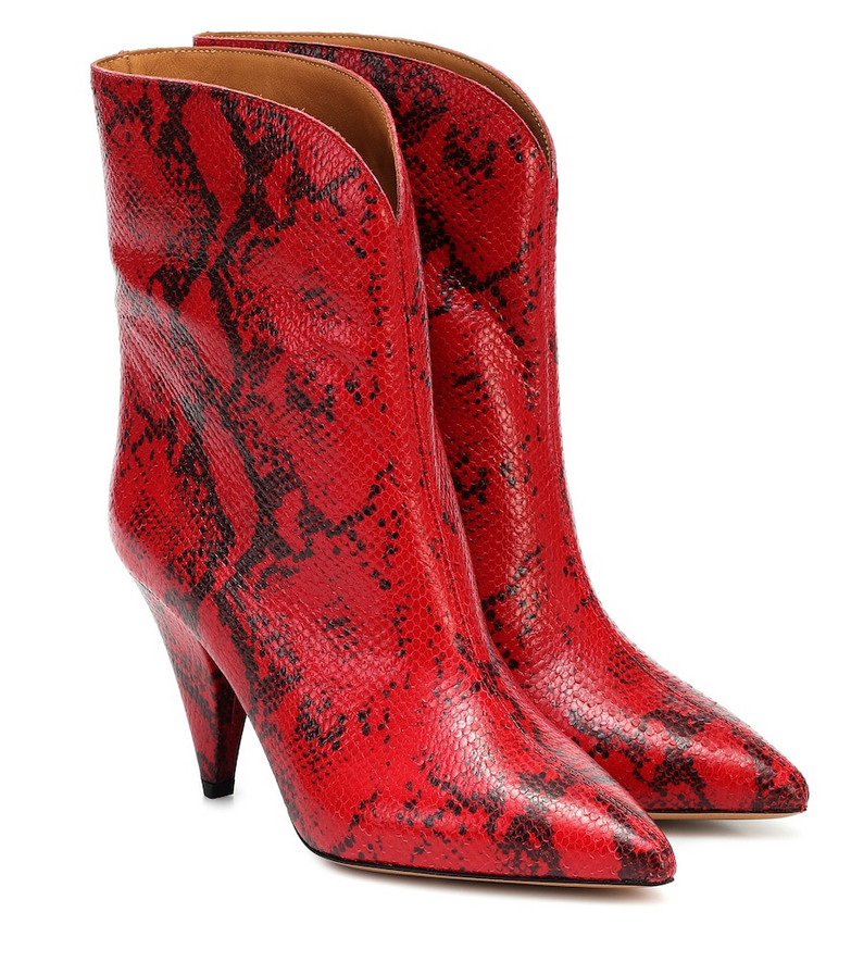 Isabel Marant Leinee leather ankle boots in red