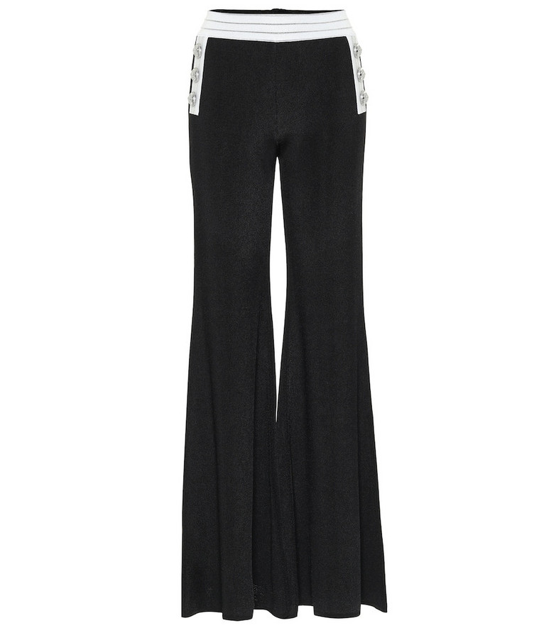 Balmain High-rise flared knit pants in black