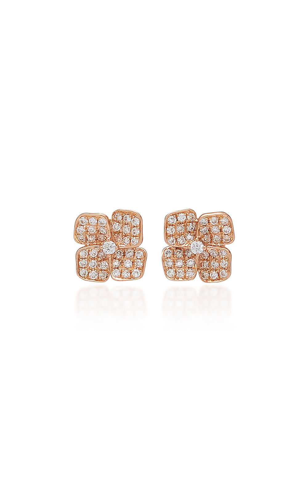 Anita Ko Floral 18K Gold And Diamond Stud Earrings in pink