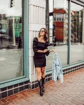dress,black dress,mini dress,long sleeve dress,black boots,cowboy boots,denim jacket