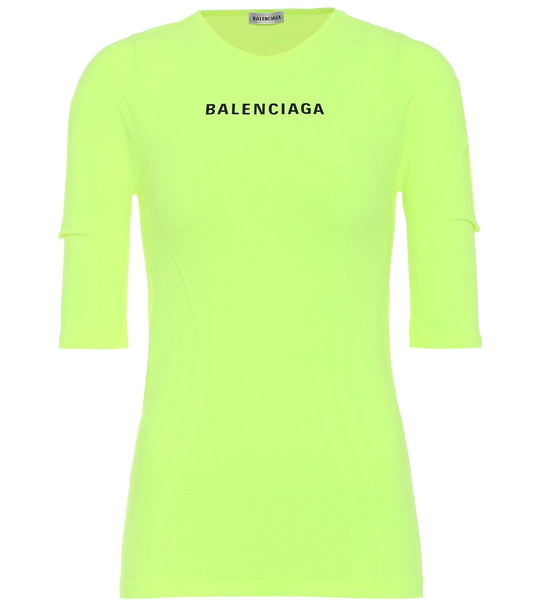 Balenciaga Logo athletic stretch-jersey top in yellow