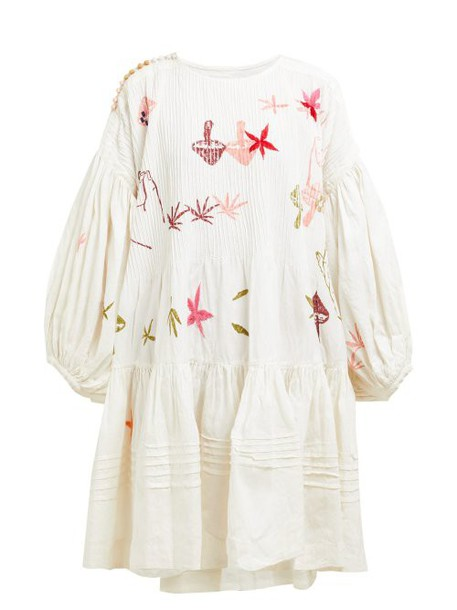 Story Mfg - Verity Embroidered Linen Blend Dress - Womens - White Multi