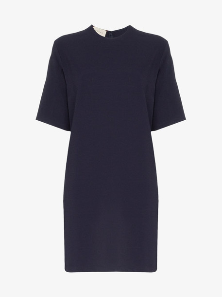 Gucci Stretch viscose tunic dress with Web in blue