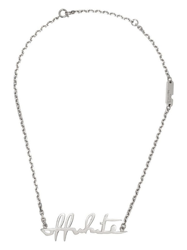 Off-White logo-lettering necklace in silver