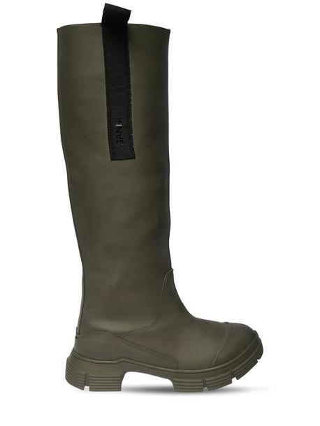GANNI 45mm Tall Rubber Rain Boots in green
