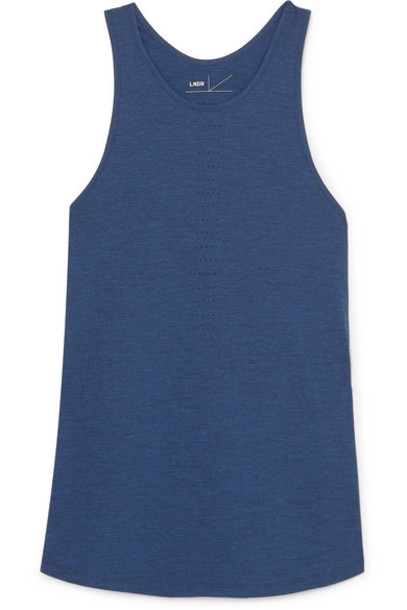 LNDR - Crescent Perforated Stretch-jersey Tank - Navy