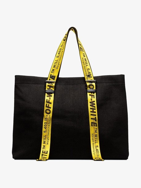 Off-White logo handle cotton-canvas tote bag in black