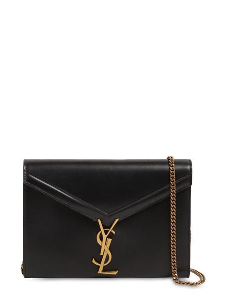 SAINT LAURENT Cassandra Leather Chain Wallet Bag in black