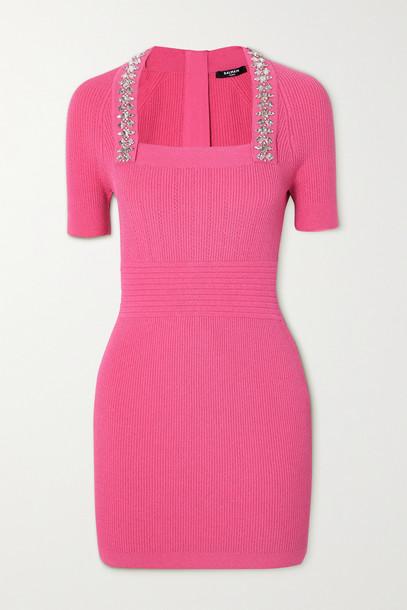 BALMAIN - Crystal-embellished Ribbed Stretch-knit Mini Dress - Pink