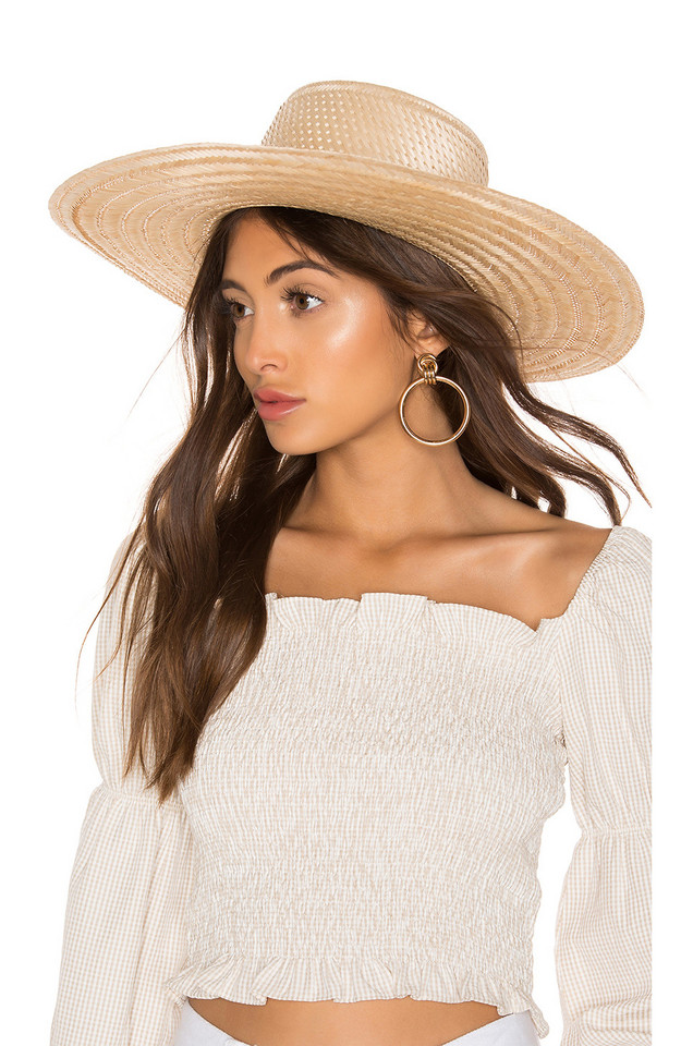 Janessa Leone Elsa Boater Hat in tan