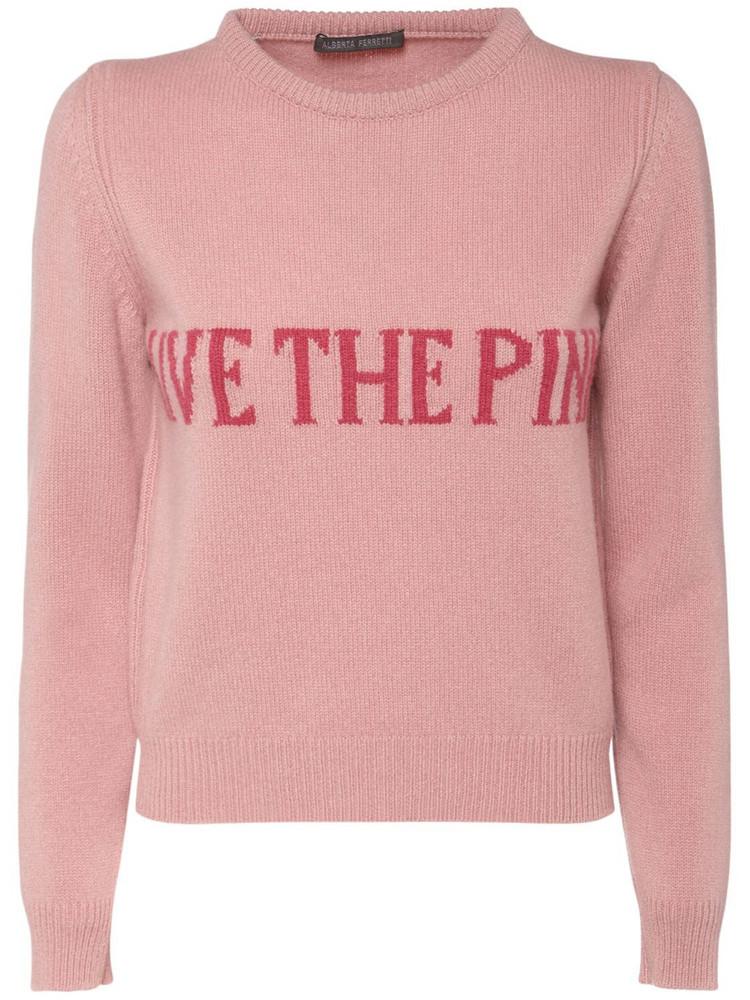 ALBERTA FERRETTI Eco Cashmere Blend Crewneck Sweater in pink / fuchsia