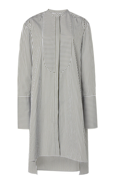 Martin Grant Striped Cotton Shirt Dress in green
