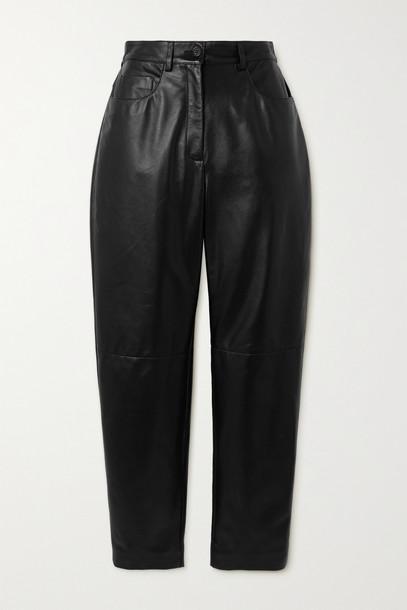 DOLCE & GABBANA - Leather Straight-leg Pants - Black