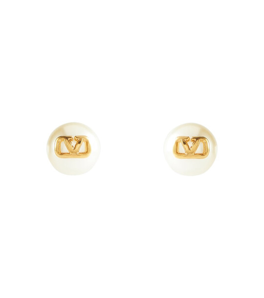 Valentino VLOGO faux pearl stud earrings in white