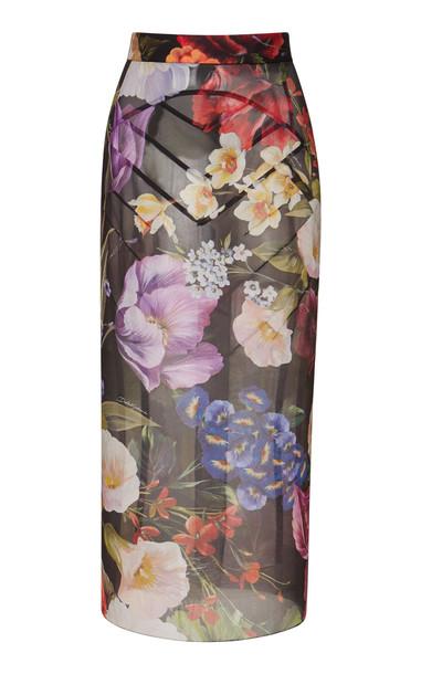 Dolce & Gabbana Floral Sheer Stretch Pencil Skirt