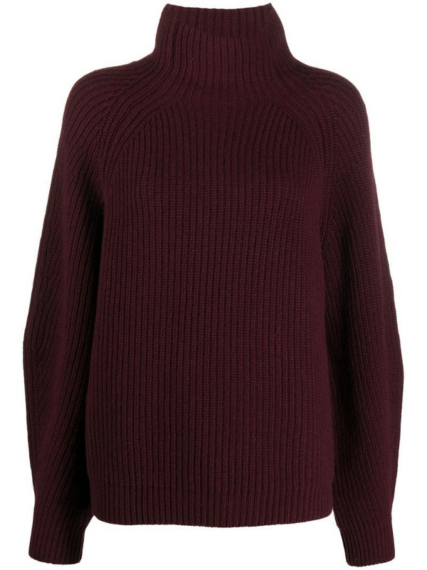 In The Mood For Love ribbed funnel-neck jumper in red