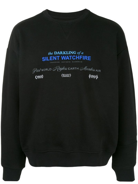 SONGZIO Darkness slogan embroidered sweatshirt in black