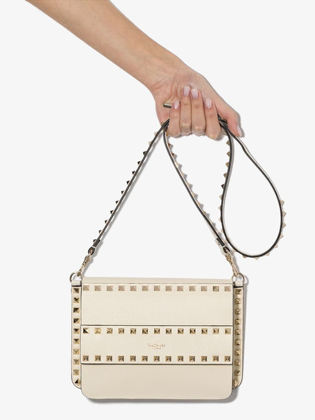 Valentino Cream Garavani Rockstud leather shoulder bag