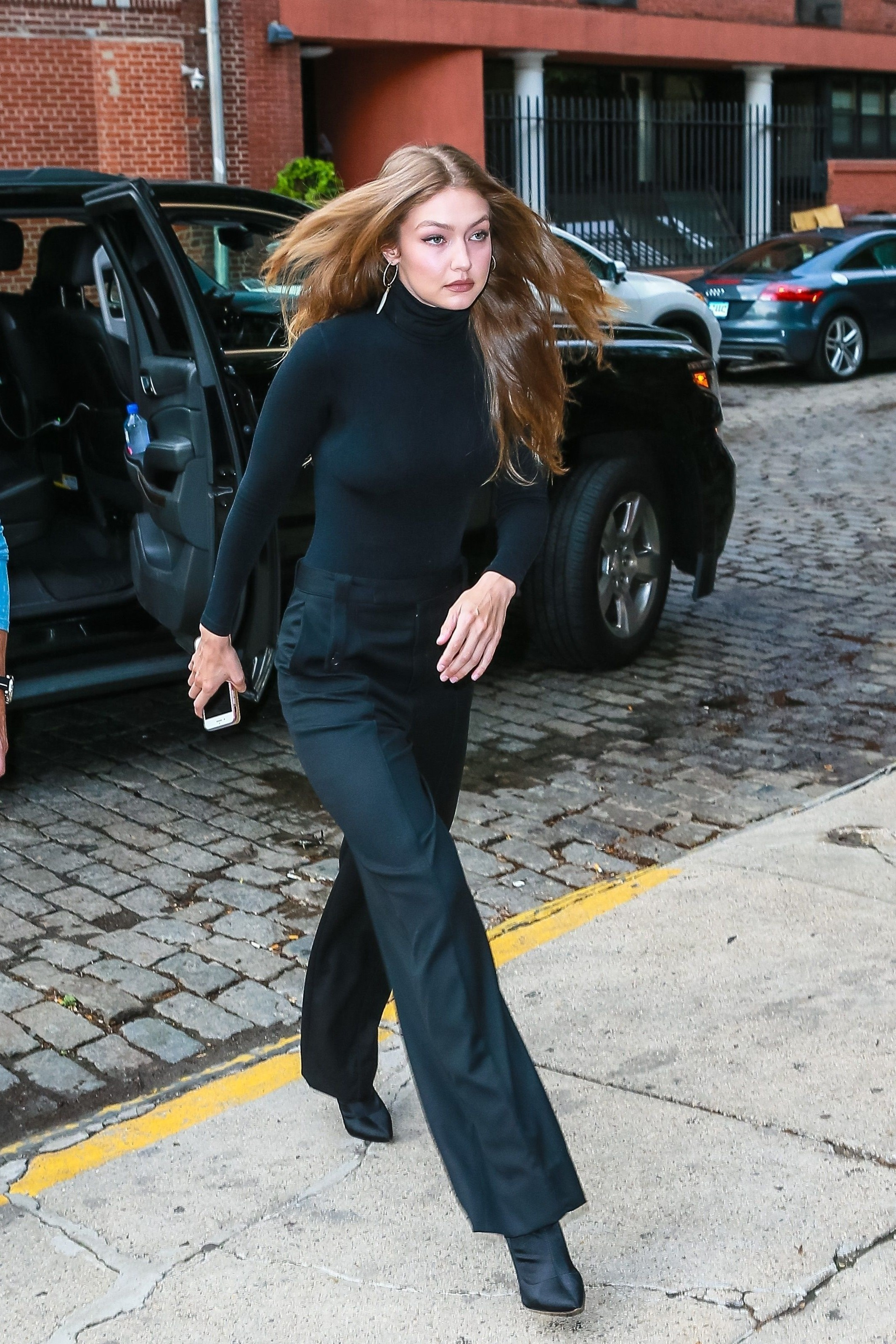 top turtleneck pants gigi hadid model off-duty all black everything
