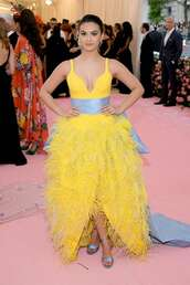 dress,gown,prom dress,red carpet dress,camila mendes,celebrity,feathers,feather dress,met gala