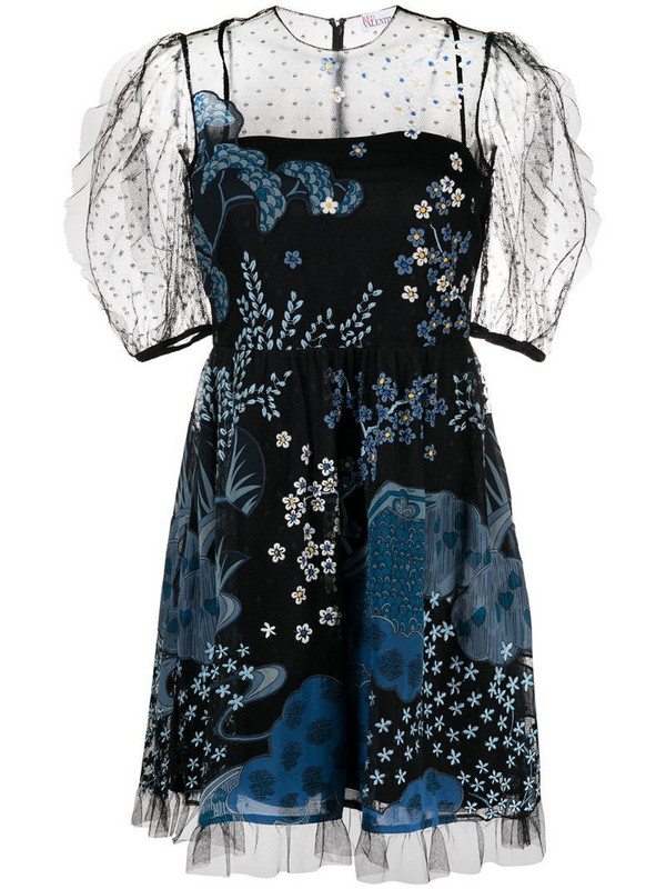 RED Valentino sheer pannelled floral dress in blue