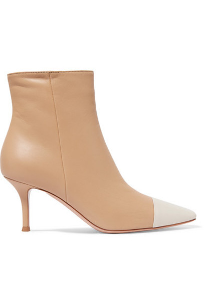 Gianvito Rossi - 70 Two-tone Leather Ankle Boots - Neutral