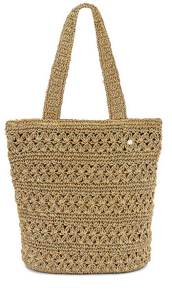Seafolly Daisy Chain Crochet Tote in Tan in natural