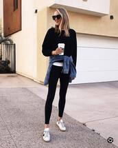 top,sweatshirt,white sneakers,black leggings,denim jacket,sportswear,sunglasses,white t-shirt