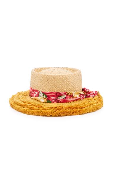 Benoit Missolin Huguette Fringed Straw Hat in neutral