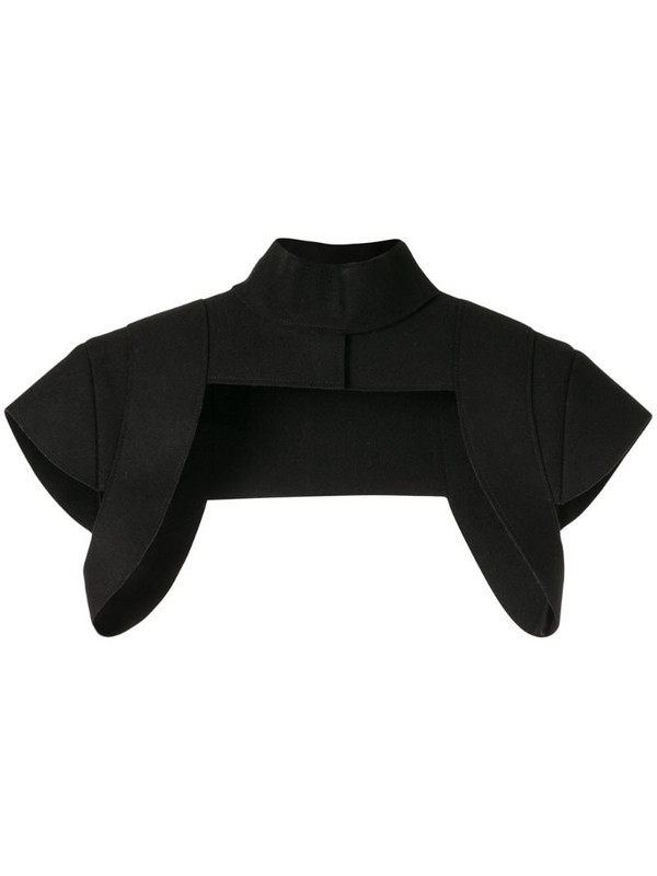 Vera Wang cropped high-neck jacket in black