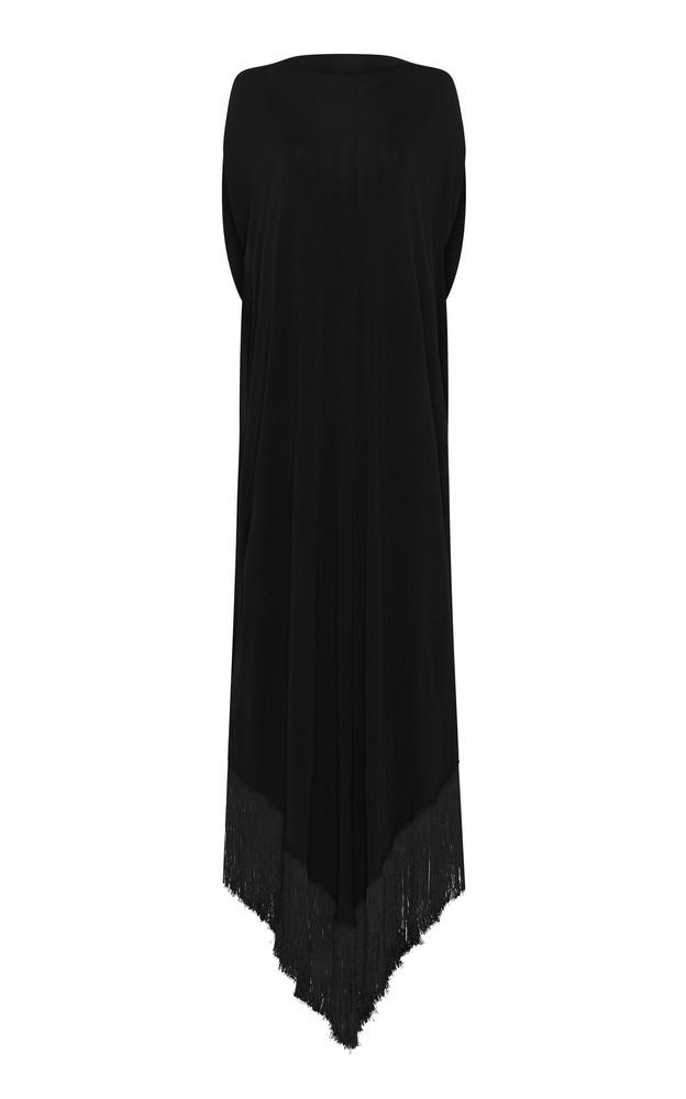 Matteau Fringed Jersey Midi Dress Size: 1 in black