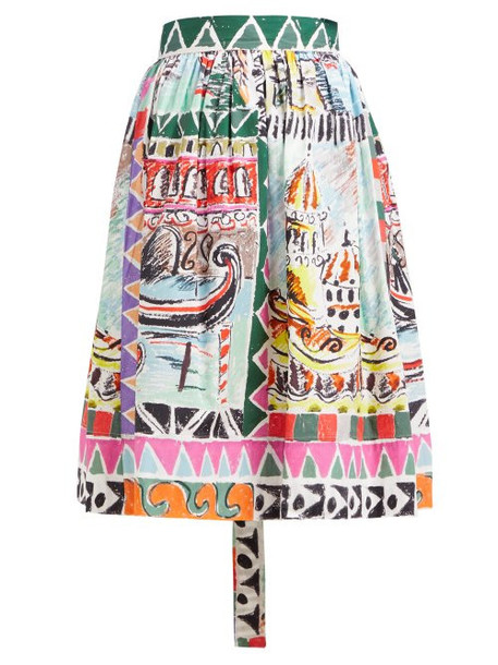 Prada - Venice Print High Rise Cotton Poplin Midi Skirt - Womens - Blue Multi