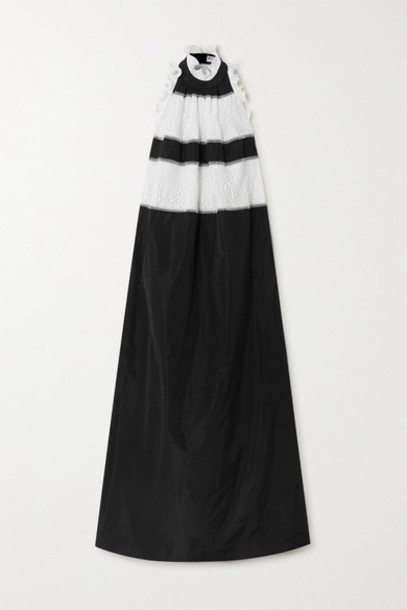 Givenchy - Ruffled Taffeta And Lace Halterneck Gown - Black