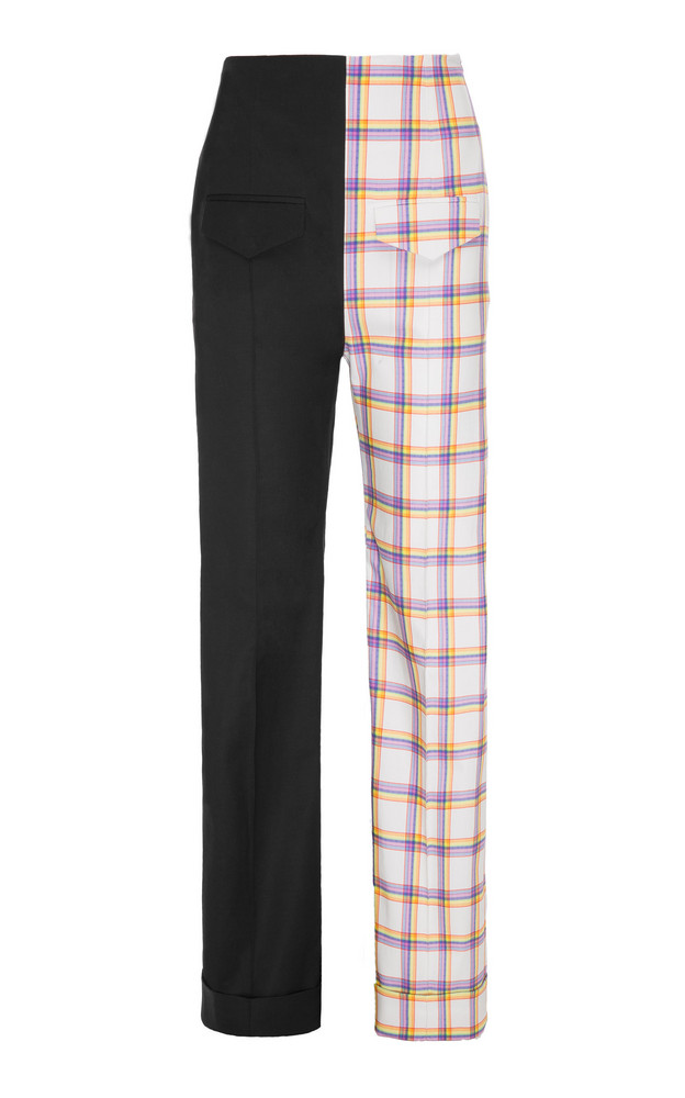 George Keburia High-Rise Straight-Leg Contrasting Pants in multi
