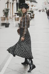 shoes and basics,blogger,shirt,skirt,bag,shoes,fisherman cap,midi skirt,fall outfits