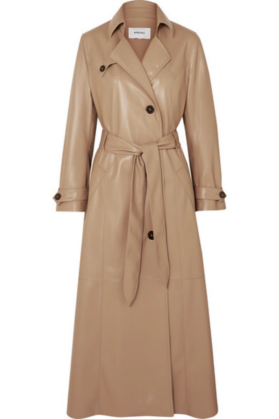 Nanushka - Chiara Belted Vegan Leather Trench Coat - Beige