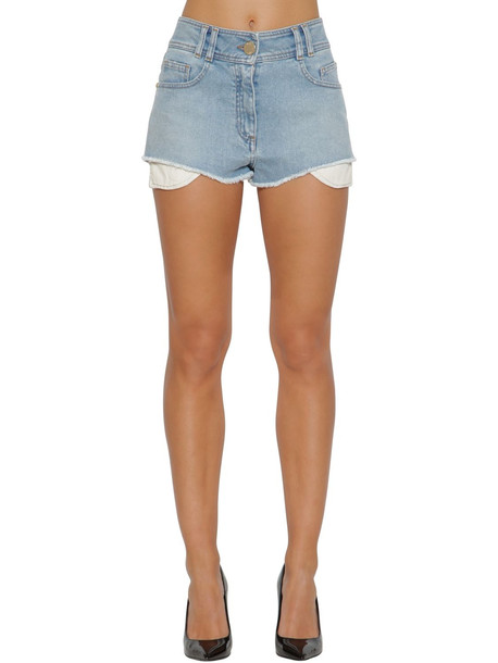 BALMAIN High Waist Logo Cotton Denim Shorts