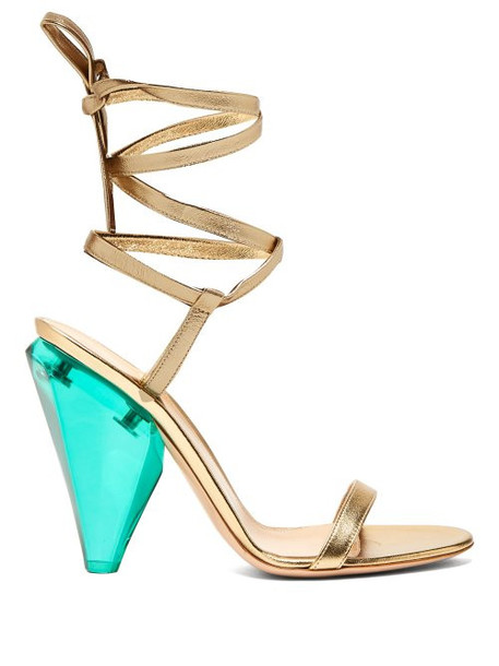 Gianvito Rossi - Palace 105 Cone Heel Metallic Leather Sandals - Womens - Gold