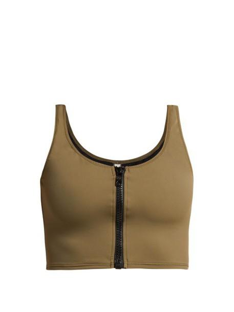 Solid & Striped - The Christie Zipped Bikini Top - Womens - Khaki